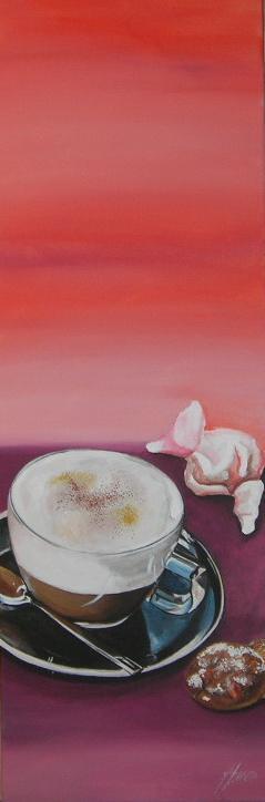 """Cappuccino Amaretto"" Acryl auf Leinwand 30 x 90 cm."