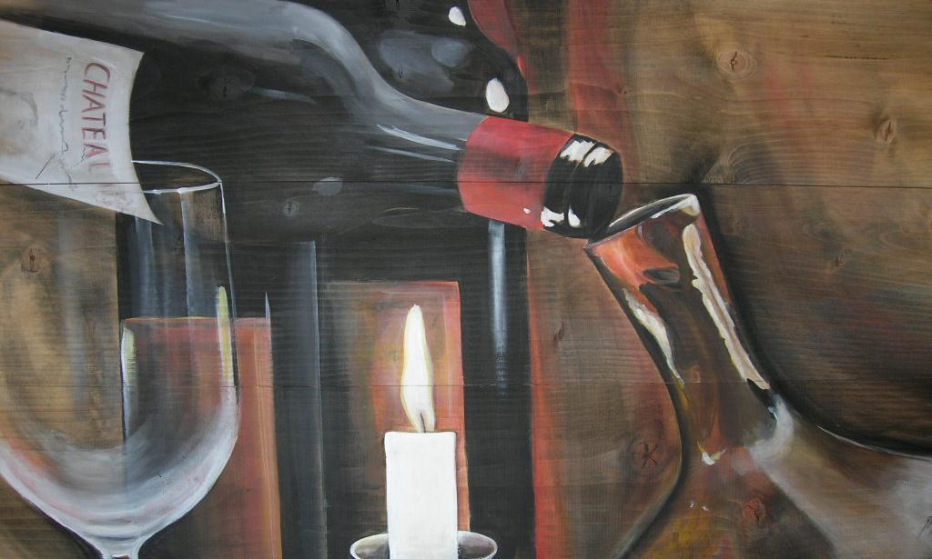 """Rotwein zum Dekantieren"""" Acryl auf Holz 55 x 100 cm."""