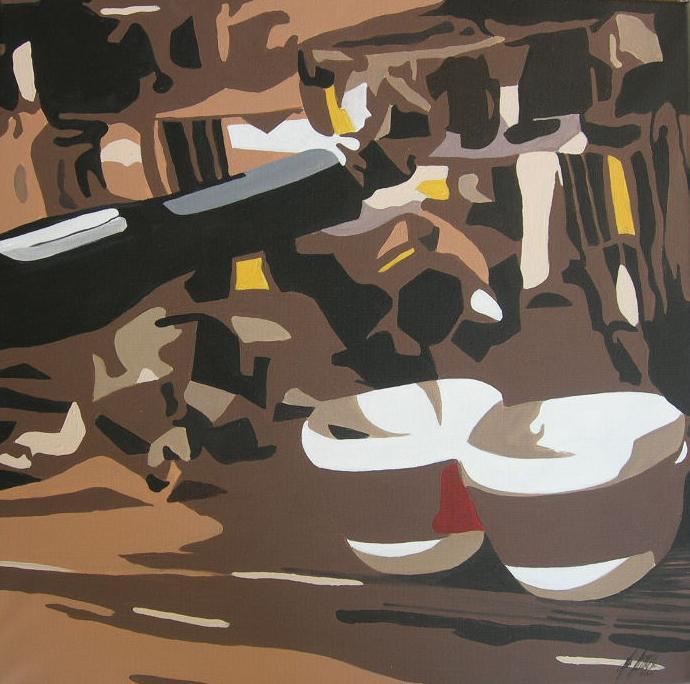 """""""2 Espresso"""" Acryl auf Leinwand 60 x 60 cm."""