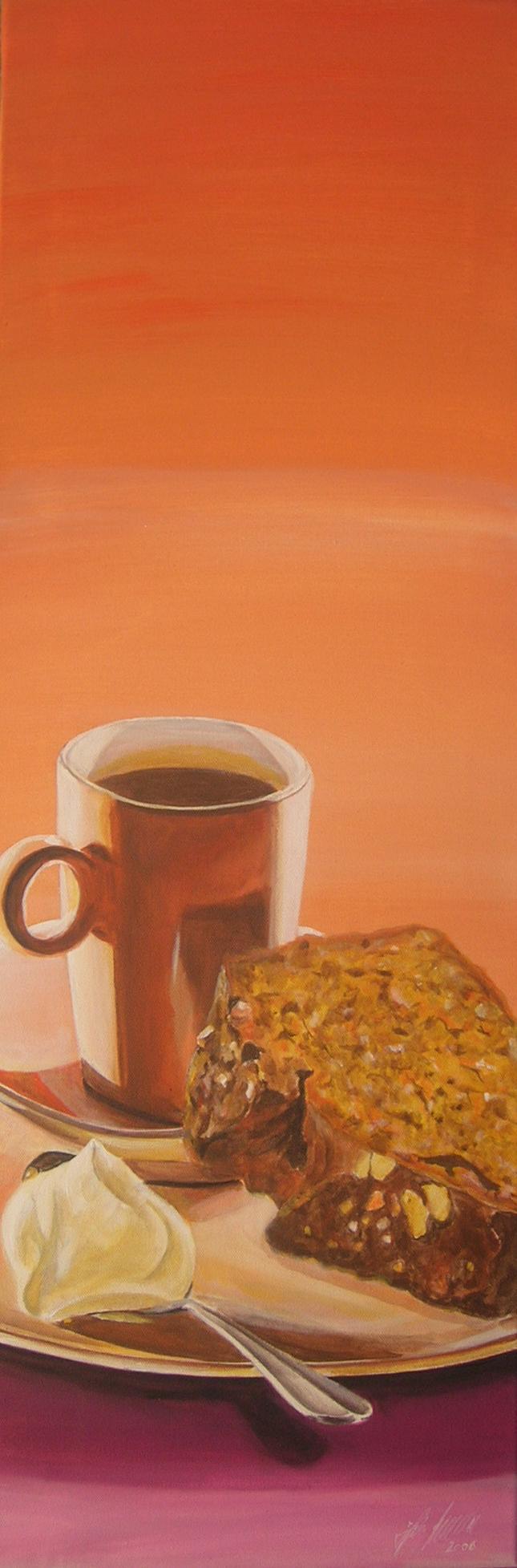 """""""Kaffee und Kuchen"""" Acryl auf Leinwand 30 x 90 cm."""
