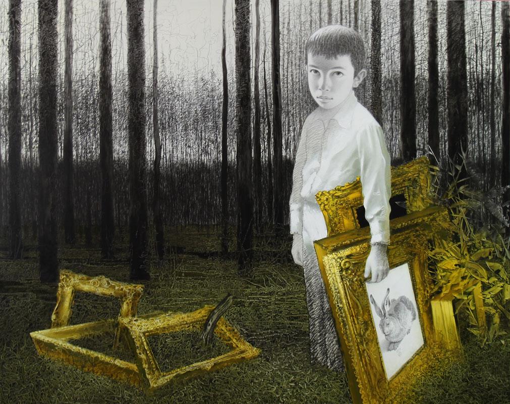 Kunstschmuggler, 2015, Bleistift & Öl auf Leinwand, 190cm x 240cm