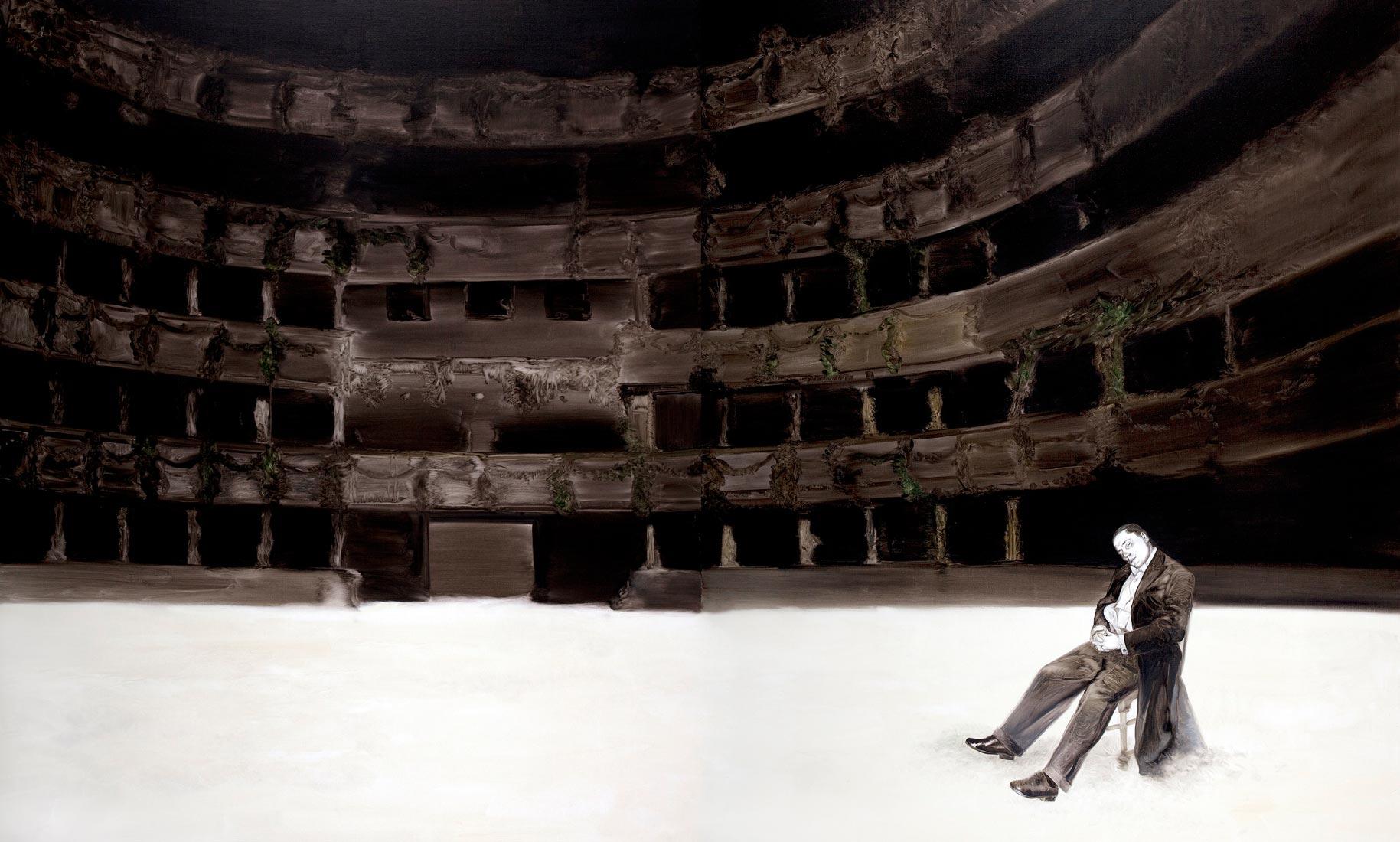 Die Oper, 2007, Bleistift & Öl auf Leinwand, 230cm x 380cm