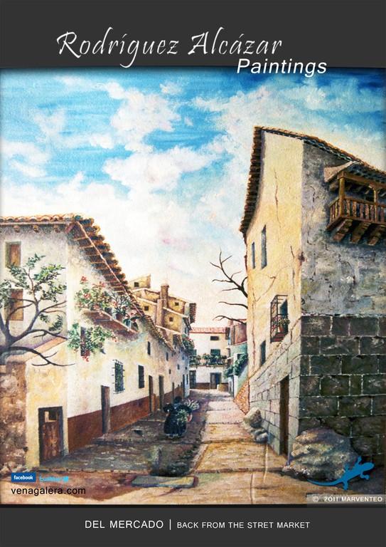 Día de mercado (cuesta empedrada) - Pintor Jesús Rodríguez Alcázar - Puebla de Don Fadrique