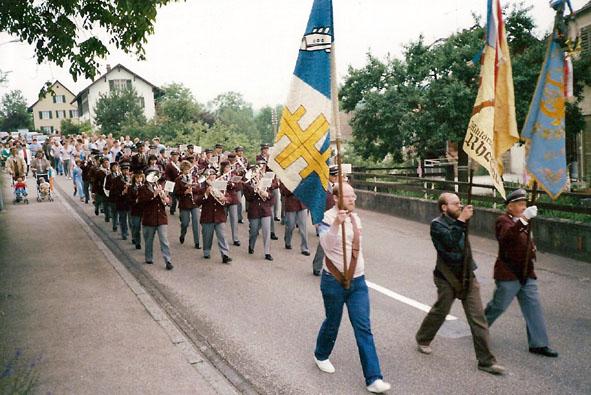Einzug nach dem Eidg. Musikfest in Winterthur 1986