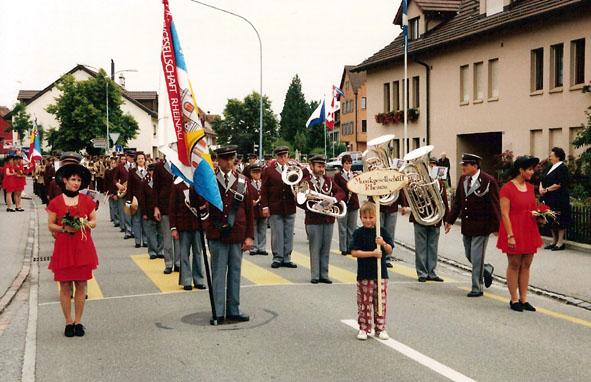 Start Marschmusik am Weinländer Musiktag in Rheinau 1996