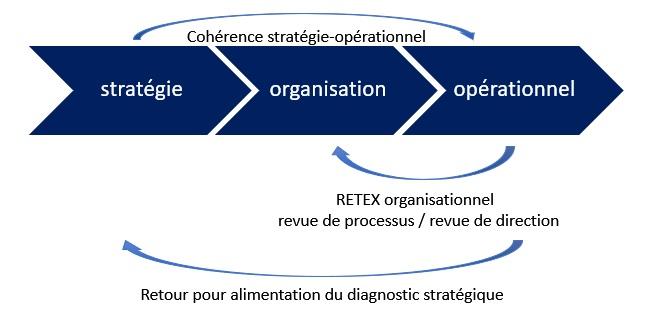 Les interactions entre les processus de management : le management stratégique, le management organisationnel, le management opérationnel.