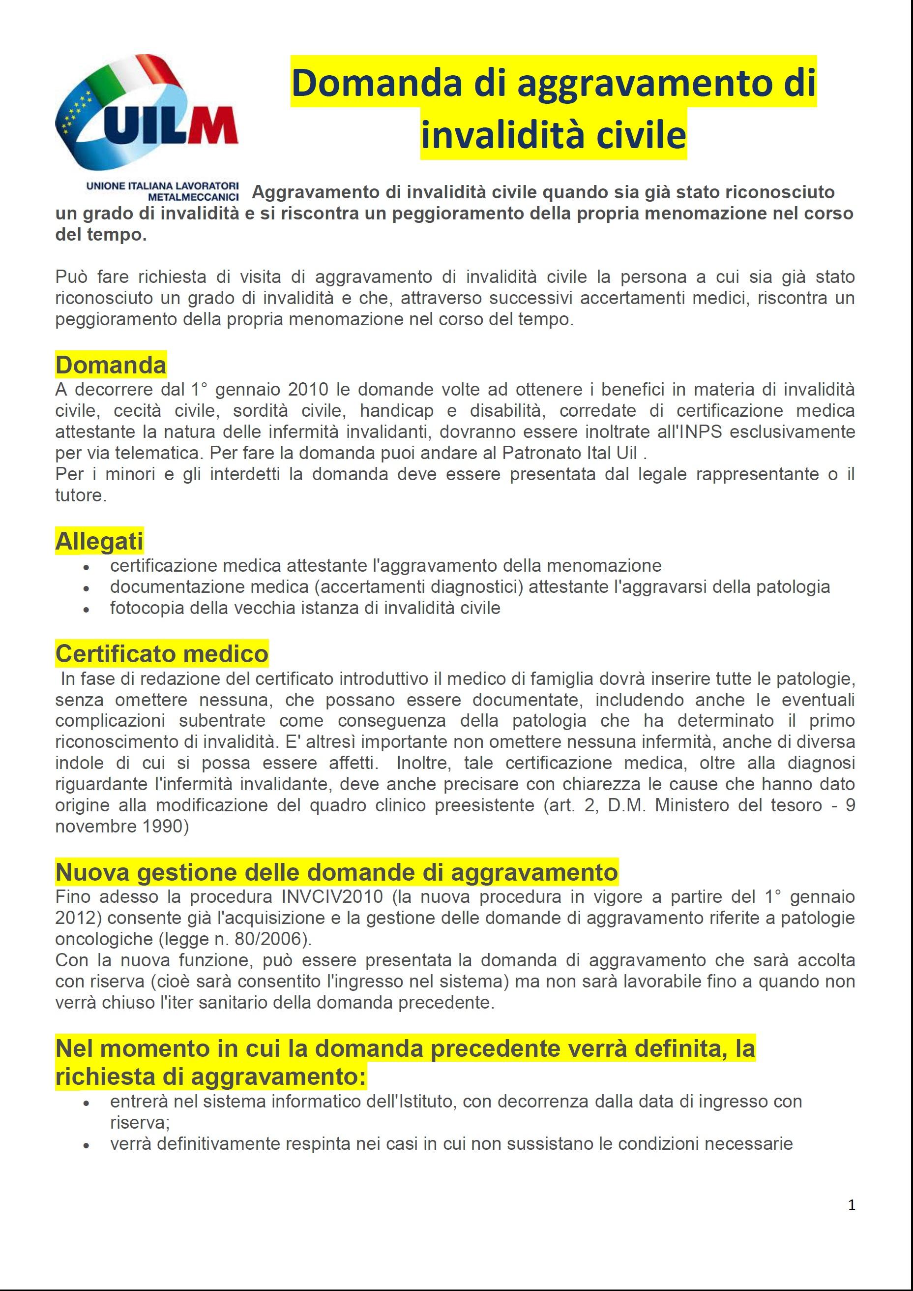 RICHIESTA AGGRAVAMENTO INVALIDITA' CIVILE - uilm cuneo