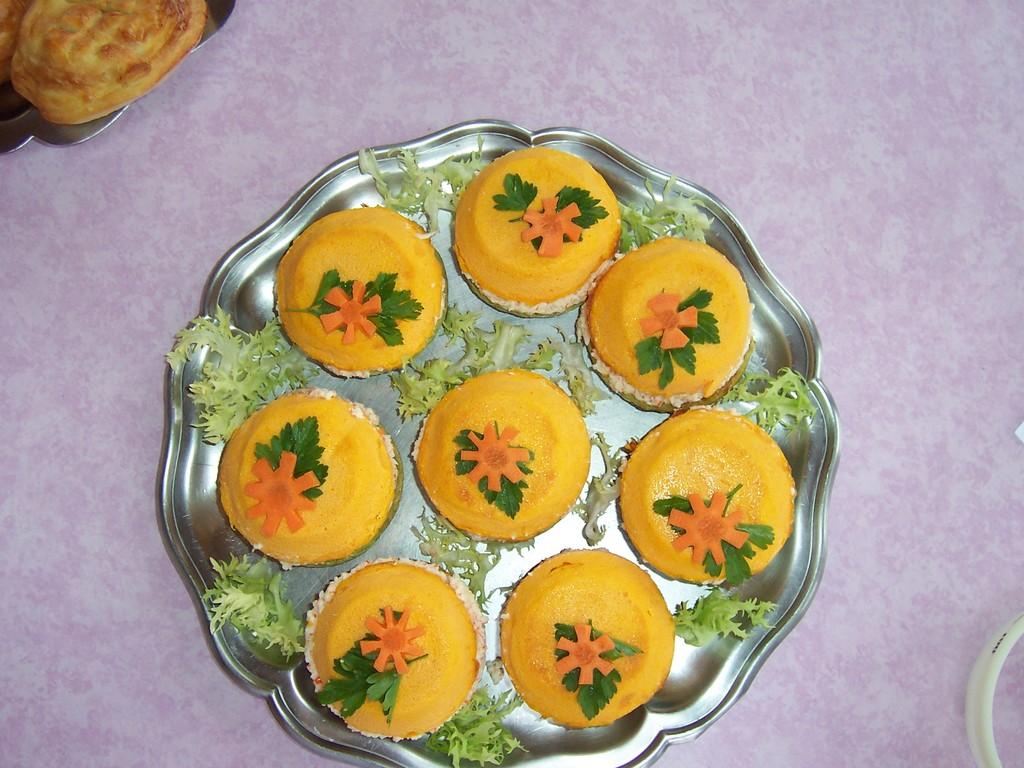 Flan de carottes, crabe et brocoli