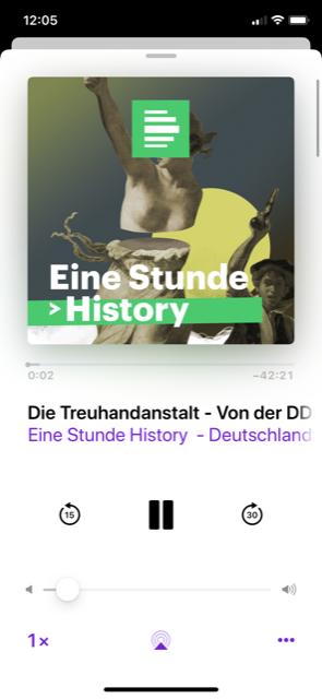 Screenshot des Eine Stunde History-Podcast