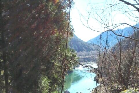 山から見下ろした保津川