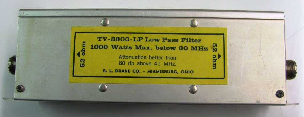 Low Pass Filter 1000 W, <30 MHz (Attention better than 80 dB above 41 MHz)