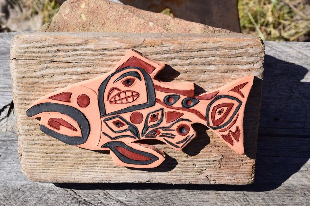 """Fish Native Art on a piece of driftwood (cleaned and matt transparent painted). Fish size: length 20cm (8.7'), depth 1.5cm (0.75""""). Driftwood size: length 23cm (9""""), height 14.5cm (5.75""""), depth 4.5cm (2.5""""), mountable on the wall.  Price $ 48.00"""