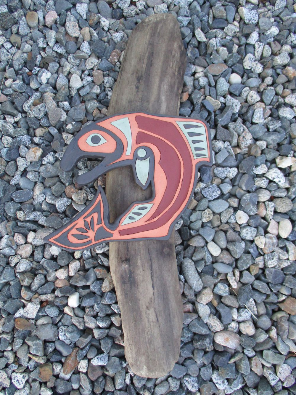 "Fish Native Art on a piece of driftwood (Driftwood is cleaned and mat transparent painted). Fish size: length 17.5cm (6.8'), depth 1.5cm (0.75""), width 20.5cm (8.1""). Driftwood size: length 51cm (20""), width 10cm ( 4""), mountable on the wall. Price $ 69.0"
