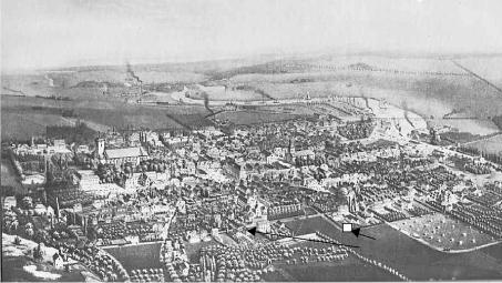 """Linköping omkring 1875. """"Flygfoto"""" från lasarettshöjden vid Sandbäcken."""