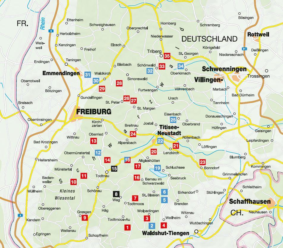 Panoramawege für Senioren Südschwarzwald - Übersichtskarte