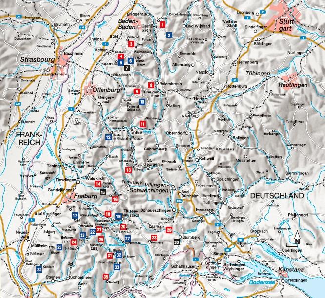 Übersichtskarte zum Wanderführer Wanderungen für Langschläfer im Schwarzwald
