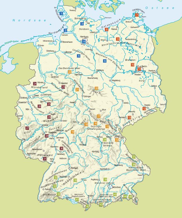 Übersichtskarte zum Wanderparadies Deutschland