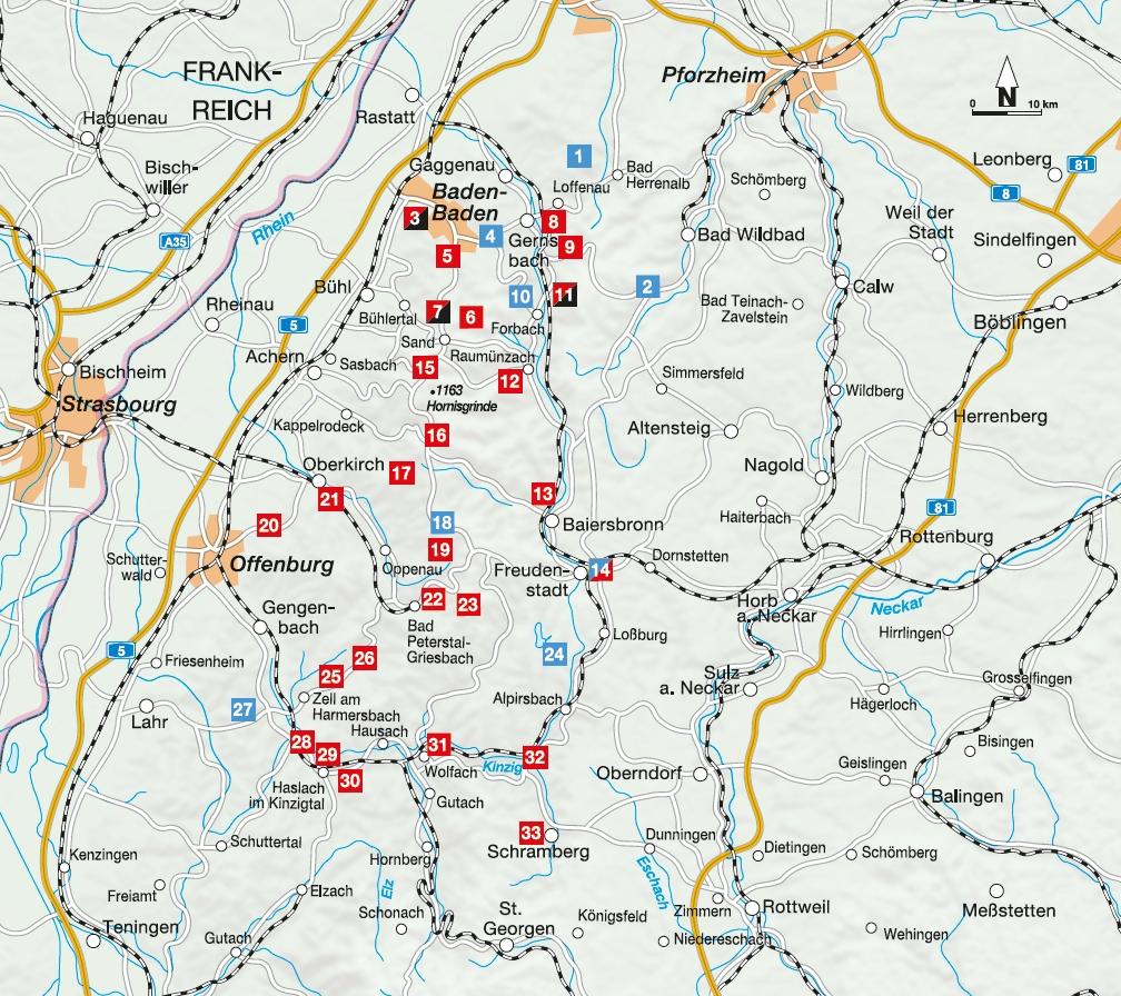 Übersichtskarte zu den Touren im nördlichen Schwarzwald
