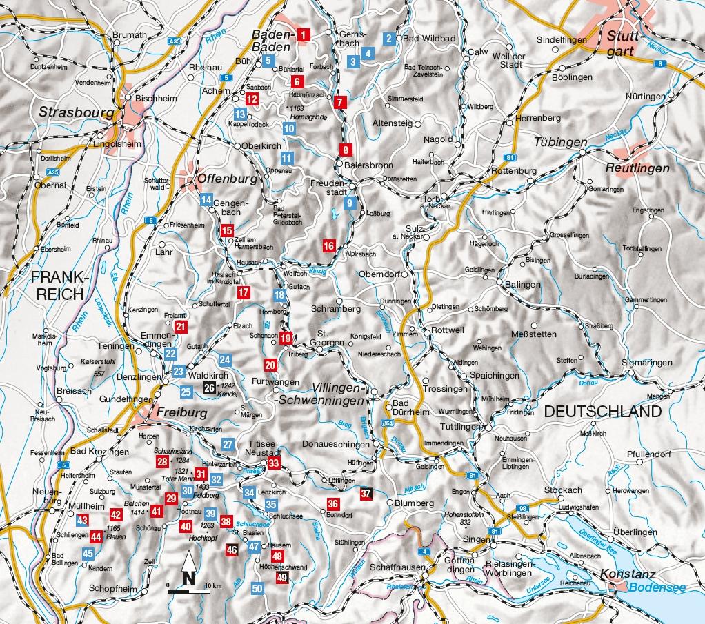 Übersichtskarte zu den Leichten Wanderungen Schwarzwald