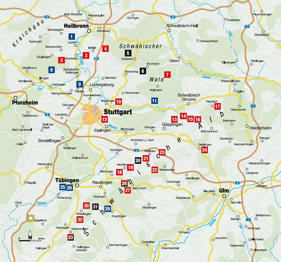 Schwäbische Hausberge - Übersichtskarte