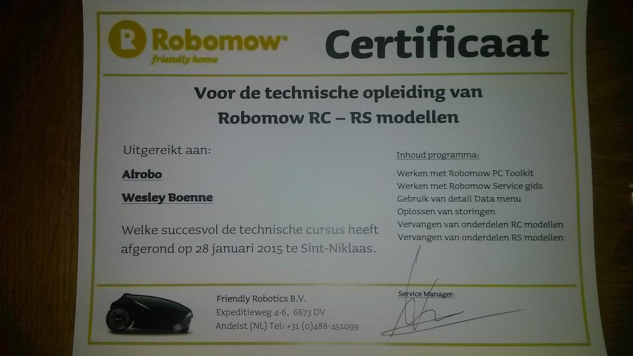 Alrobo technisch opleidingscertificaat Robomow