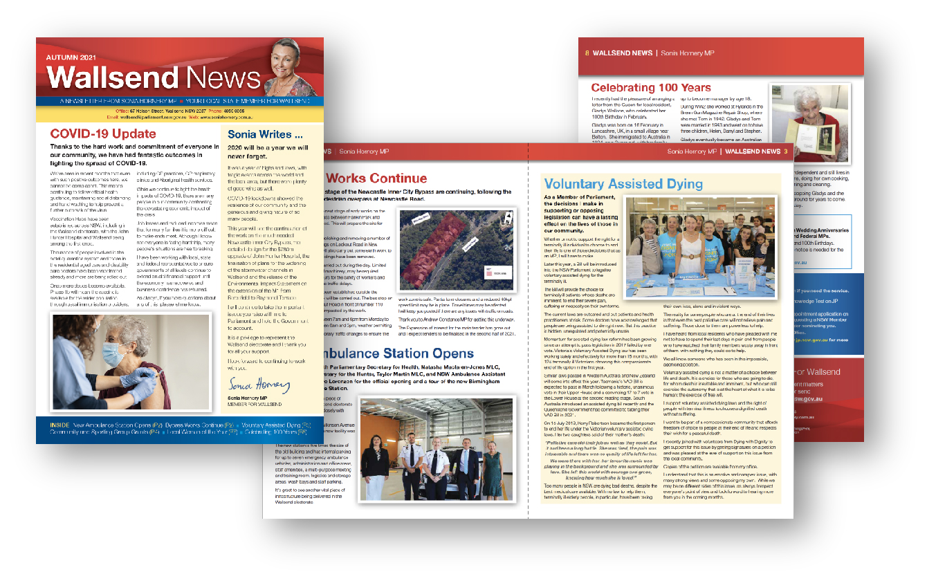 Layout community newsletter for State MP