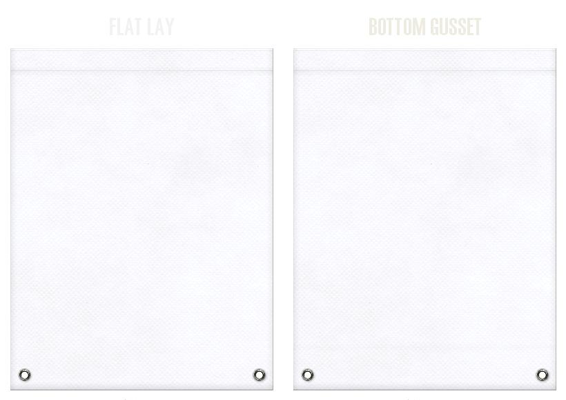 不織布リュックサックのカラーシミュレーション:白色