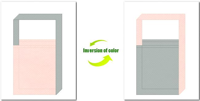 桜色とグレー色の不織布ショルダーバッグのデザイン