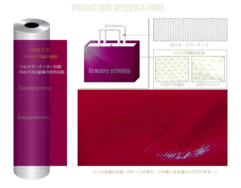 グラビア印刷の不織布バッグのオリジナル制作:光沢のある不織布スクエアトートバッグが制作できます。