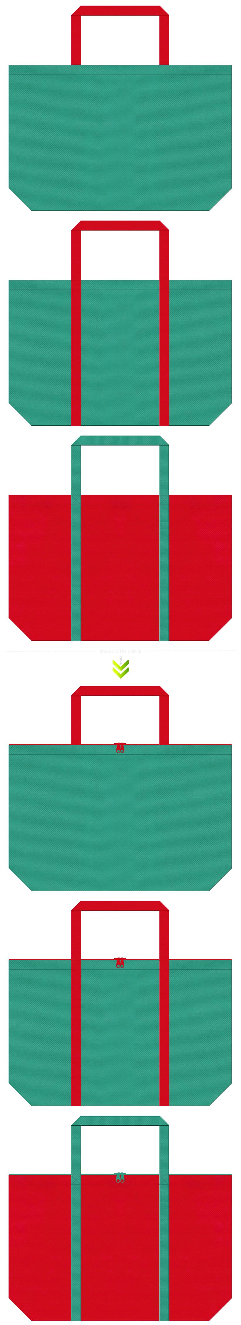 茶会・野点傘・琉球舞踊・観光地のショッピングバッグにお奨めの不織布バッグデザイン:青緑色と紅色のコーデ