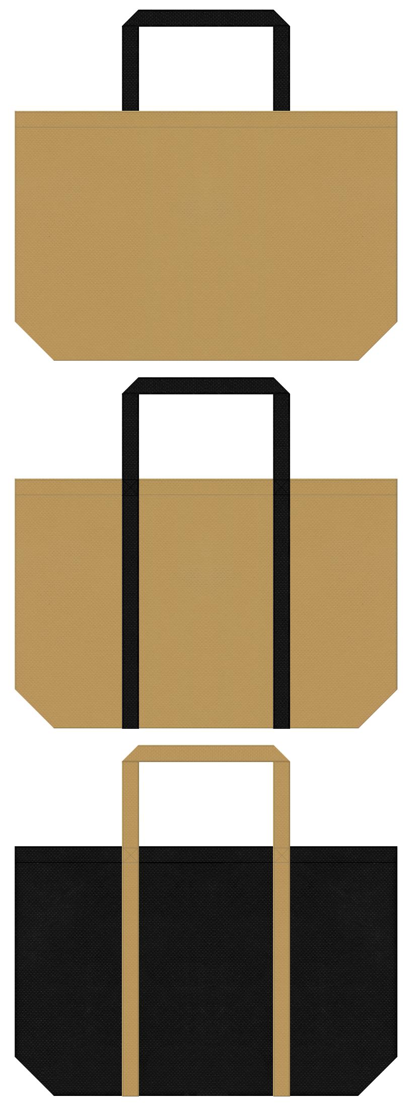 金色系黄土色と黒色の不織布バッグデザイン。屏風、襖絵のイメージで、画材・額縁のショッピングバッグやお城イベントにお奨めです。