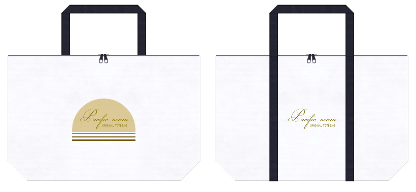 白色と濃紺色の不織布ショッピングバッグデザイン例:マリンファッションの定番カラーです。