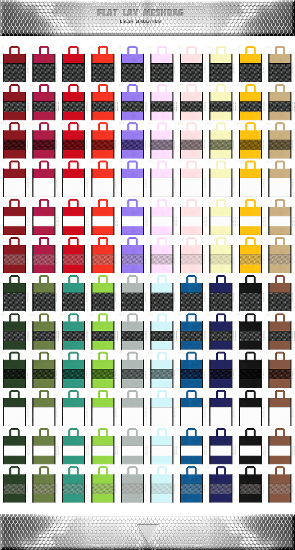 フラットタイプのメッシュバッグのカラーシミュレーション:黒色・白色メッシュと不織布の組み合わせができます。