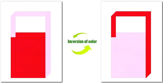 赤色と明ピンク色の不織布ショルダーバッグ