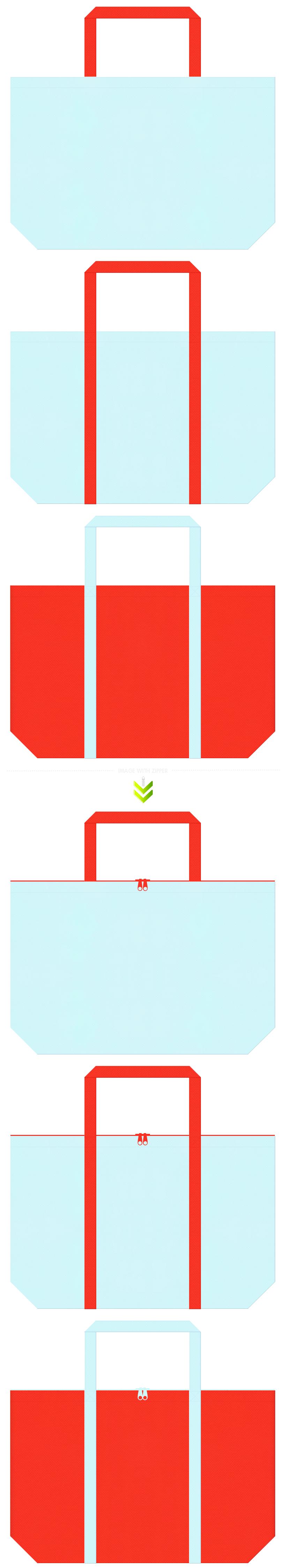 水色とオレンジ色の不織布エコバッグのデザイン。サプリメントのイメージにお奨めの配色です。