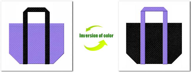 不織布No.32ミディアムパープルと不織布No.9ブラックの組み合わせのショッピングバッグ