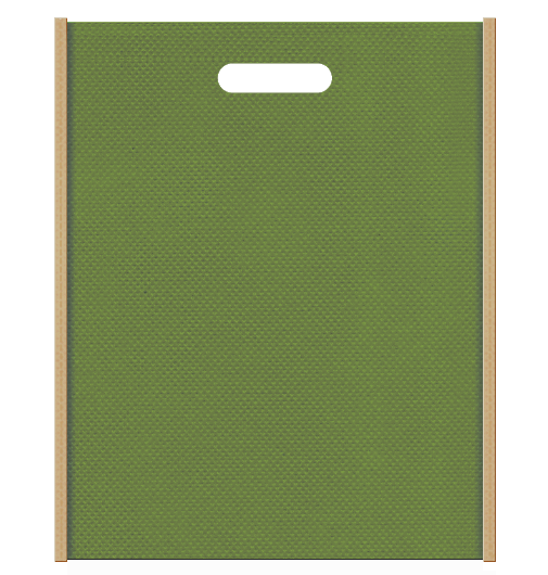 竹製品にお奨めの不織布バッグ小判抜き配色デザイン:メインカラー草色とサブカラーカーキ色