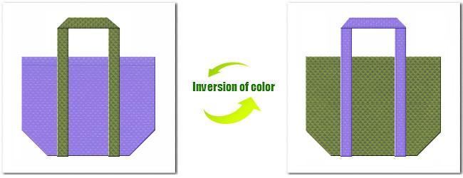 不織布No.32ミディアムパープルと不織布No.34グラスグリーンの組み合わせのショッピングバッグ