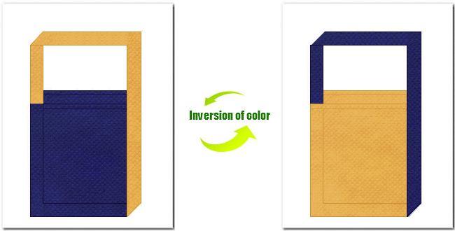 明紺色と黄土色の不織布ショルダーバッグのデザイン:ブルーデニム・カジュアルなイメージにお奨めの配色です。