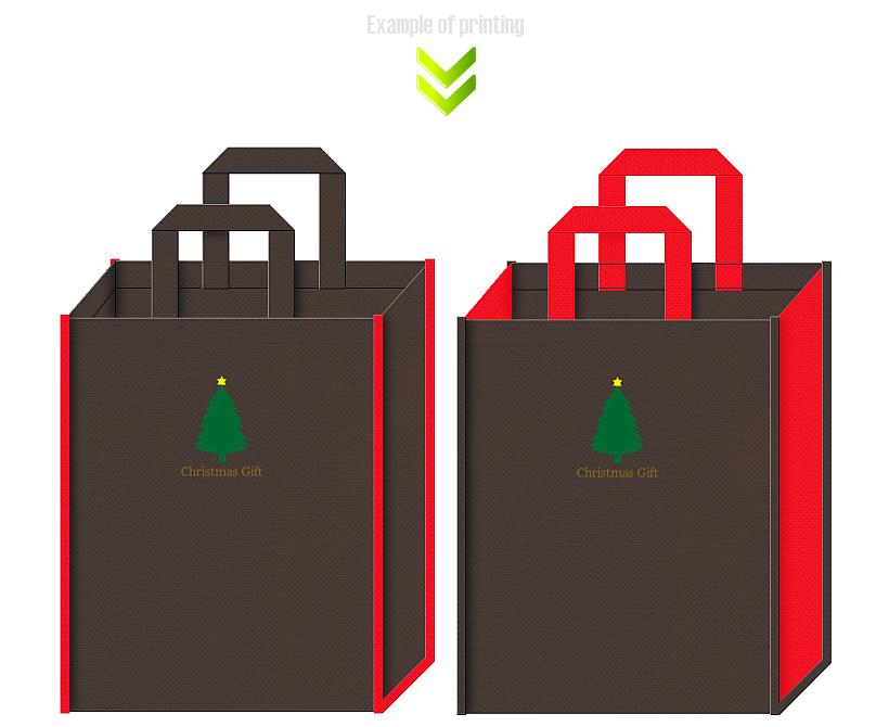 クリスマスギフトの不織布バッグデザイン例。