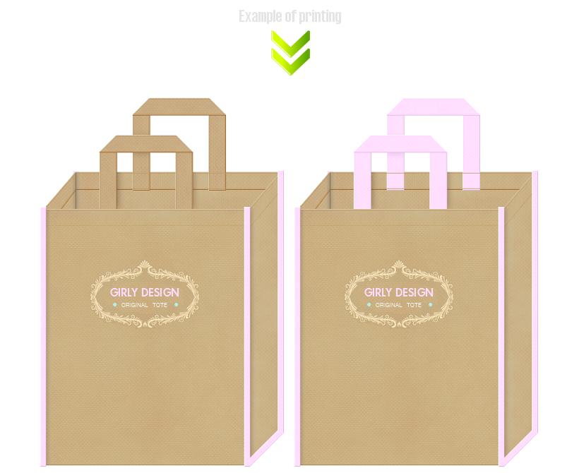 ガーリーデザインの不織布バッグ