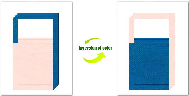 桜色と青色の不織布ショルダーバッグのデザイン