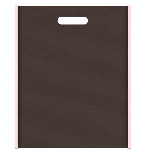 和菓子のギフト包装にお奨めの不織布小判抜き袋デザイン:メインカラーこげ茶色、サブカラー桜色