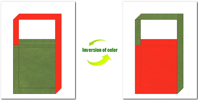 草色とオレンジ色の不織布ショルダーバッグのデザイン:抹茶オレンジ風の配色で和風柄にお奨めです。
