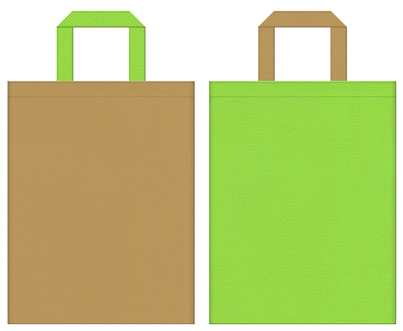 不織布バッグの印刷ロゴ背景レイヤー用デザイン:金色系黄土色と黄緑色のコーディネート:キウイフルーツのイメージで果物の販促イベントにお奨めです。