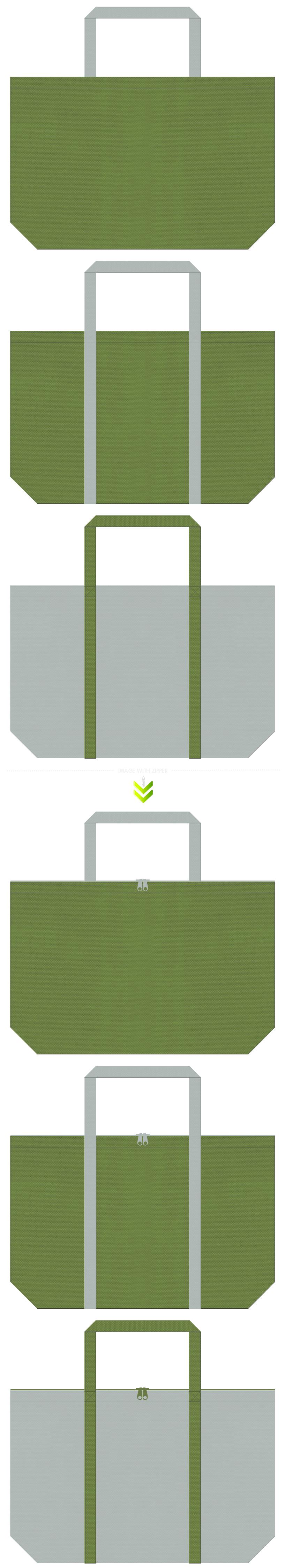 草色とグレー色の不織布エコバッグのデザイン。和風建築・エクステリアのイメージにお奨めです。