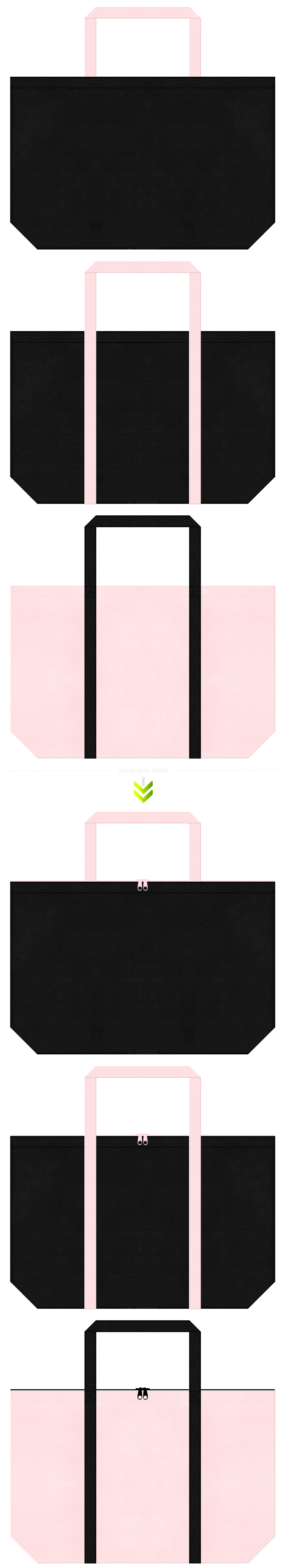 黒色と桜色の不織布エコバッグのデザイン。ゴスロリファッションにお奨めです。