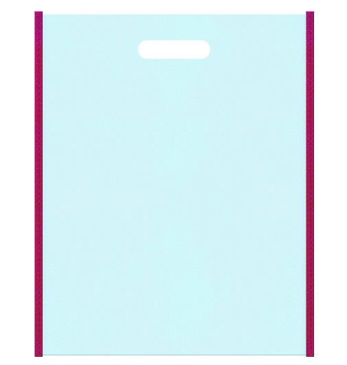不織布小判抜き袋 メインカラー濃いピンク色とサブカラー水色の色反転