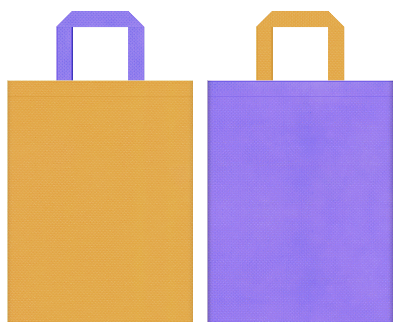 不織布バッグの印刷ロゴ背景レイヤー用デザイン:黄土色と薄紫色のコーディネート