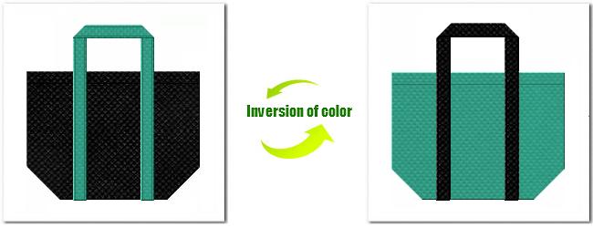 不織布No.9ブラックと不織布No.31ライムグリーンの組み合わせの不織布バッグ